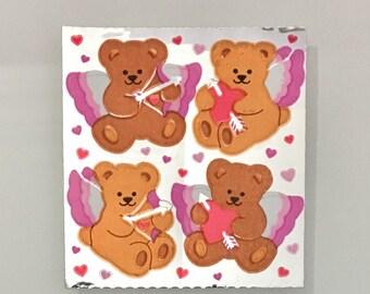 Vintage Super Rare Sandylion Cupid Bear Heart Stickers