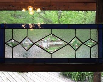 Stained glass, beveled glass, transom window, window panel, cobalt, blue, textured glass, handmade