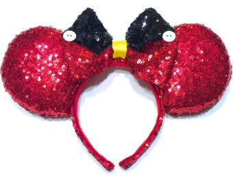 Mickey Mouse Inspired Ears - Sequin Mouse Ears - Red Sequin Mouse Ears - Black Sequin Mouse Ears - Custom Mouse Ears - Disney Inspired Ears
