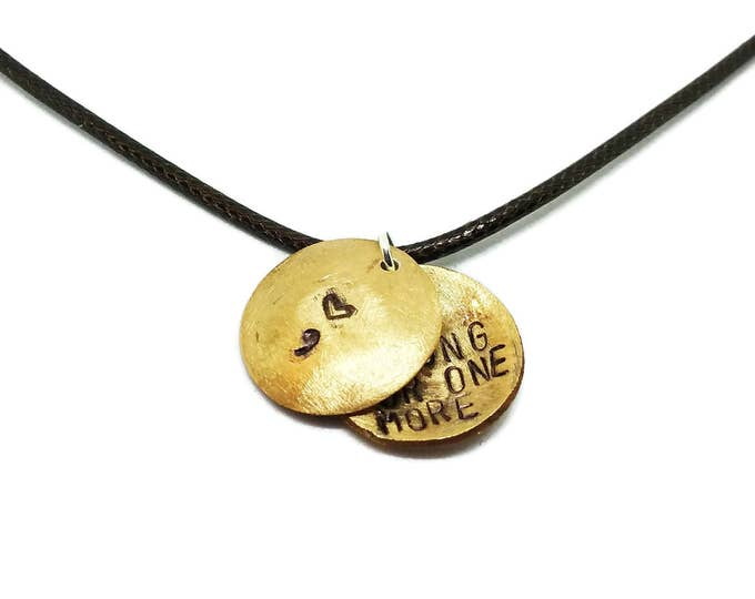 Be Strong For One More Hand Stamped Locket, Hidden Message Necklace, Suicide Prevention, Mental Health Awareness, Suicide Awareness, N013