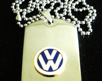 Volkswagen Titanium Steel Dog Tag with adjustable 24-Inch beaded necklace with Free Engraving