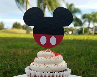 12 Mickey Mouse inspired cupcake toppers.