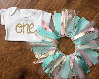 Mint and Pink 1st Birthday Outfit