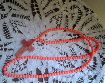 Fluro Orange Beaded Necklace with Stone Look Large Cross - 80s