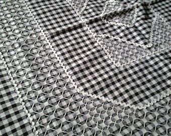 Retro  Breakfast Square Tablecloth - Hand embroidery - Cafe - Black and White