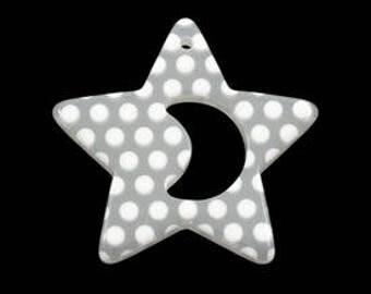 Pendant, Charm, Resin Star, White, 40mm