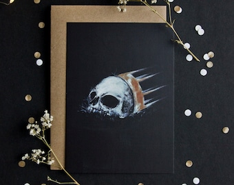 Skull post card - high quality print - envelope included - A6
