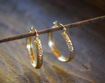 14 Karat Yellow Gold Diamond Cut Hoop Earrings - Vintage Fine Gold