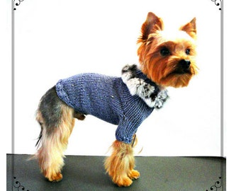 RESERVED   dog sweater wit fur -dog clothing-dog clothes-small dog outfit-knit dog sweater