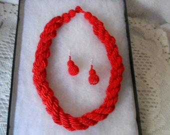 Sponge Coral Beaded Necklace Set #914