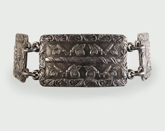 Retro Silver Panel Bracelet with floral engraving c1945