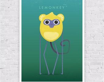 Illustration Poster art print LEMONKEY - affiche A3 - Collection Animeals