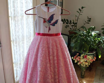 Exclusive white and pink girls' dress
