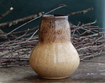 Soviet Vintage Brown Ceramic Vase Made in USSR Russian Design Glossy Glaze