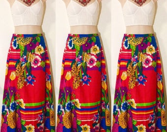 Vibrant Red Floral 1960s Maxi Skirt