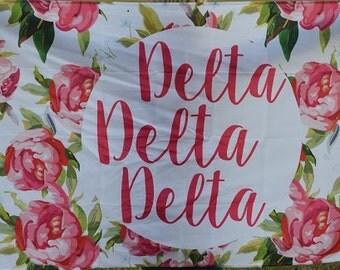 Delta Delta Delta Sorority Floral Flag