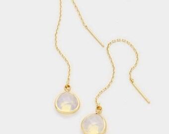 Ear Threader, Ear Threads, Gold Opal Earrings, Gold Ear Threader, Gold Opal Dangle Earrings, Ear Threader, gold ear threads, bridesmaid gift