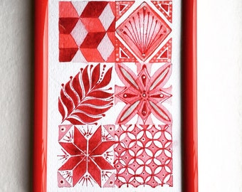 Watercolor Art print. Tiles in Red. Decor. Framed Art. Red.