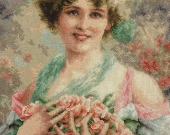 Cross-stitch, Beauty in roses .Wall decor, decoration.
