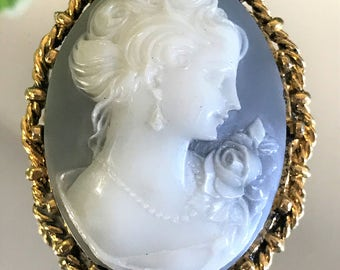 A Beautiful Large Victorian Revival Vintage Cameo Brooch