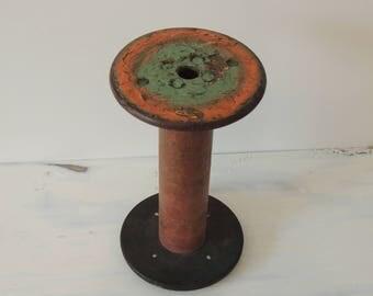 Vintage Large Textile Spool, old spool, wood spool, steampunk spool, decorator spool, green and orange spool, craft spool, large spool