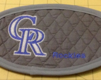 Colorado Rockies Mug Rug; An Extra Large Embroidered Quilted Coaster, handmade from Grey Cotton Double Diamond Quilting and Embroidery.