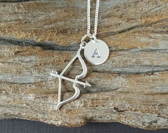 Sterling Silver Bow and Arrow Necklace, Personalized Necklace, Initial Necklace, Love Charm, Love Pendant