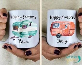 Happy Campers - RV Mugs - Couples Mugs - Travel Mug - Camping Mugs - Gifts For Her - Gifts For Him - Camping Gifts - RV Gifts - Motorhome