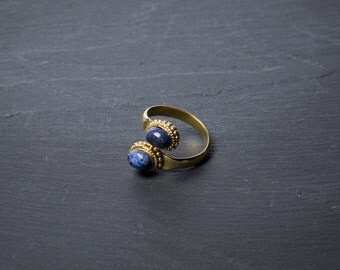 SALE -20% Messing Tribal Echt Stein Ring