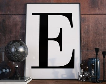 E Letter Print, Initial Wall Art, Letter Print E. Scandinavian Poster, Initial Poster, E Letter Poster, E Letter Print, Digital Download