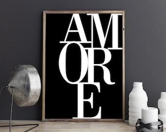 Amore Poster, Amore Print, Romantic Art Print, Typography Art, Bedroom Decor, Love Print  Black and White Print, Printable Art, Gift for her