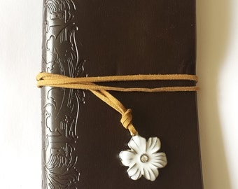 Brown white daisy journal charm jotter notebook