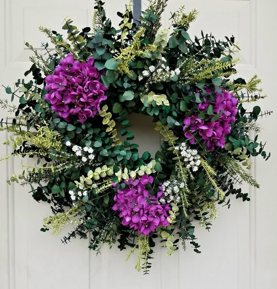 "hydrangea wreath, eucalyptus wreath, 18"" wreath, spring wreath, mothers day wreath wreath, decorative wreath, fragrant wreath"