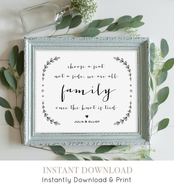 Choose a Seat, Not a Side Wedding Sign, Printable Wedding Ceremony Sign, Editable Template, Rustic Laurels, Instant Download, PDF 8x10 #VW14