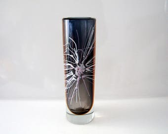 Large stunning vase by Petr Hora for Beranek - Czech glass, Bohemian - 29cms.