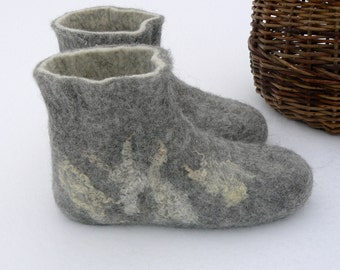 Felted wool boots - natural wool women's slippers - not dyed wool boots