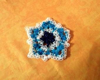 Coasters, Rainbow loom, loom coasters, Star, light blue, Granny star, handmade, OOAK, handmade, unique