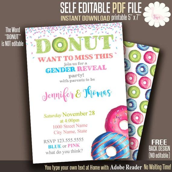 Donut invitation Gender Reveal party Doughnut invitation