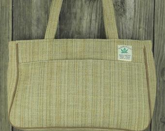 Hemp Handbag with double zipper interior compartment