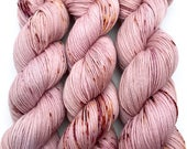 "Hand Dyed Yarn Mauve Pink Rose Blush Purple Gold Brown Rust Speckled Merino Nylon Fine Fingering Sock Superwash 463yds 100g ""Sophrosyne"""