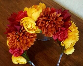 Dia de los muertos headpiece, day of the dead, flower crown, zombie