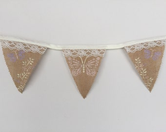 Butterfly Lace and Burlap Bunting