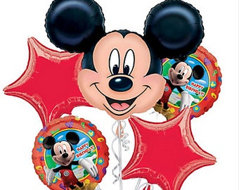Mickey mouse balloon bouquet pk of 5, birthday party, club house birthday celebration