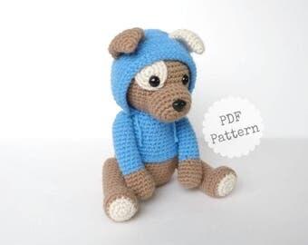 Amigurumi Puppy Dog Crochet Pattern with Hoodie, PDF Download