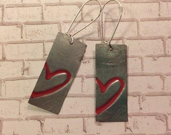 Heart embossed, distressed metal earrings, red heart earrings