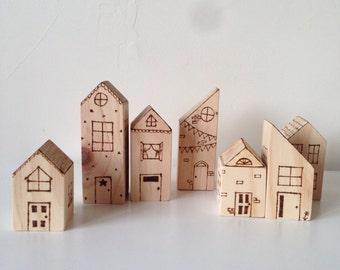 Handmade wooden toy house blocks 8pce