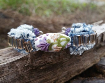 Frayed Denim Bracelet with Lampwork and Crystal Beads