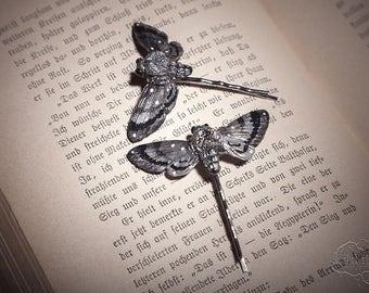 2 moths hairpins