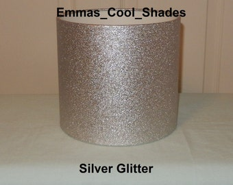 Handmade Lampshade - Silver Glitter Wallpaper -  Drum Bespoke Girls Sparkly