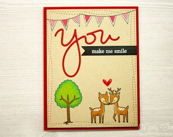 You Make Me Smile Card with Prisma Pencils, Valentine's Day Card, Happy Valentine's Day, Love Card, Happy Card, Deer Card